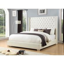 KING UPHOLSTERED BED - WHITE