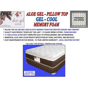 Aloe Gel - Pillow Top - Gel Cool Memory Foam - Queen