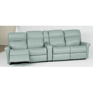Davis Leather Reclining Console Theater Seating