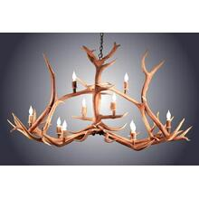 REAL 10 Light Elk Crossbar Antler Chandelier