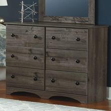 6 Drawer Narrow Dresser Weathered Gray Ash
