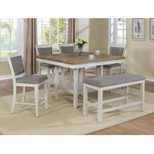 Fulton- White 5pc. Counter Height Set Plus Bench