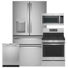 """See Details - GE Smart 28 cu. ft. French-Door Refrigerator with Door In Door & 30"""" Gas Range with No Preheat Air Fry 4 Pc Package- Open Box"""