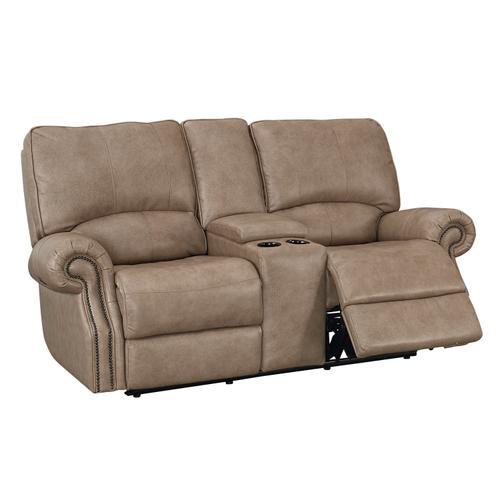 Bassett Furniture - Club Level Prescott Power Loveseat in Wheat Colored Leather