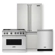 "VIKING 36"" Professional 5 Series Stainless Steel Freestanding Dual Fuel Convection Range- 3 piece package"