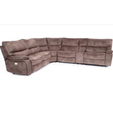 6 PIECE POWER HEADREST RECLINING SECTIONAL in Java Fabric w/Coffee Welt   (9706,WARE-9706S)