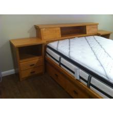Shaker King Size Chestbed with Bookcase Slant Headboard and Attached Night Stands