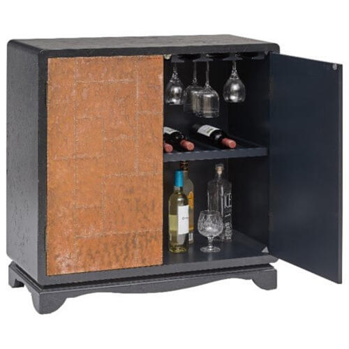 Mastercraft International - MASTERCRAFT INTERNATIONAL P020075 Black Leather And Copper Bar Cabinet