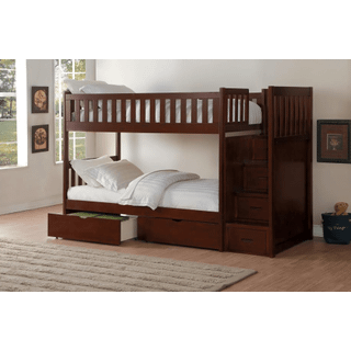 Rowe Bunk Bed Twin on Twin with Reversible Step Storage and Storage Drawers