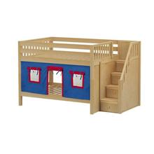 Low Bunk Bed with Staircase on End & Curtain In Natural Finish