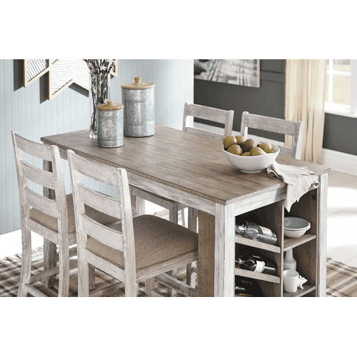Skempton - White/Light Brown - 5 Pc. - Rectangular Counter Table with Storage & 4 Upholstered Barstools