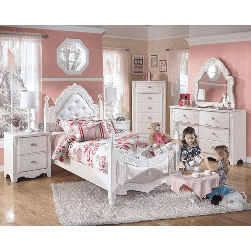 Exquisite- White- Dresser, Mirror, Chest, Nightstand & Twin Poster Bed