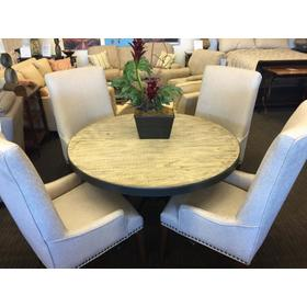 """48"""" Round Dining Table with 4 Walton Upholstered Chairs"""