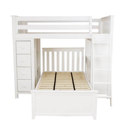 Jackpot Kensington All in One Loft Bed Storage Study Twin Bed In White Finish