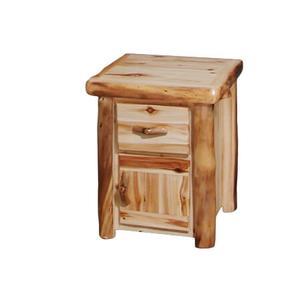 1 Drawer / 1 Door Nightstand Flat Front Wild Panel Natural Log