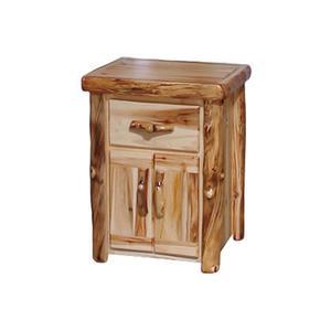 Tall 1 Drawer / 2 Door Nightstand Flat Front Wild Panel Natural Log