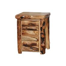 2 Drawer Nightstand Log Front Natural Panel Gnarly Log