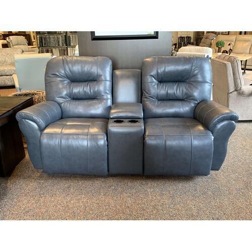 Unity Leather Power Reclining Loveseat with Console, Space Saver