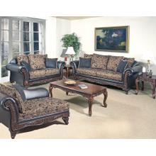 Silas Ebony Wood Trimmed Loveseat