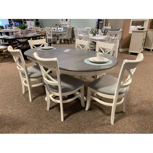 Dining Table w. 6 X-Back Upholstered Chairs