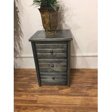 3 Drawer Nightstand Rustic Grey