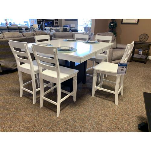 Square Pedestal Bar Height Table with 6 Chairs, Black & White