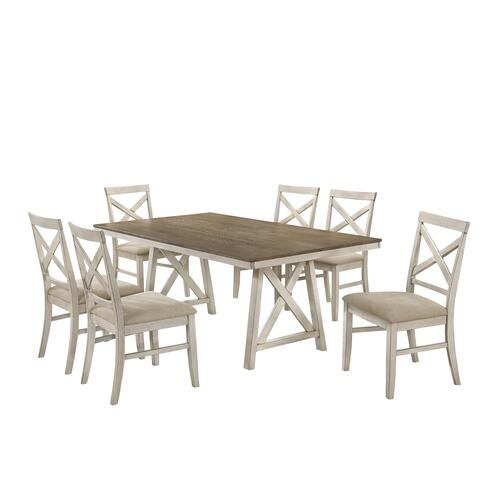 Somerset 7 Pc Vintage Cream/White Regular Height Dinette Set by New Classic, Model D2959