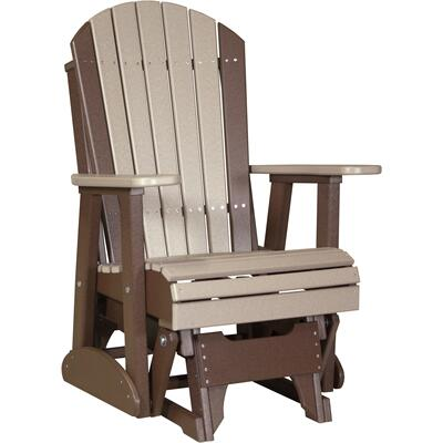 Adirondack Glider 2' Weatherwood and Chestnut Brown