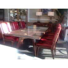 Table w/ 6 Chairs in Red Leather