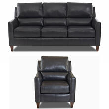 Darkar Charcoal All Leather Sofa & Chair