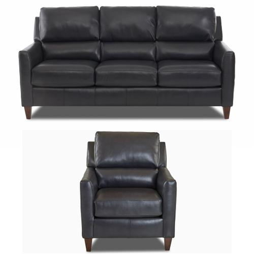 Distinctions - Darkar Charcoal All Leather Sofa & Chair