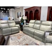 See Details - Triumph Light Grey Power Leather Reclining Sofa & Loveseat