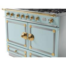 CornuFe 110 Dual Fuel Range - Suzanne Kazler Couleurs - Roquefort with Stainless Steel and Polished Brass Trim