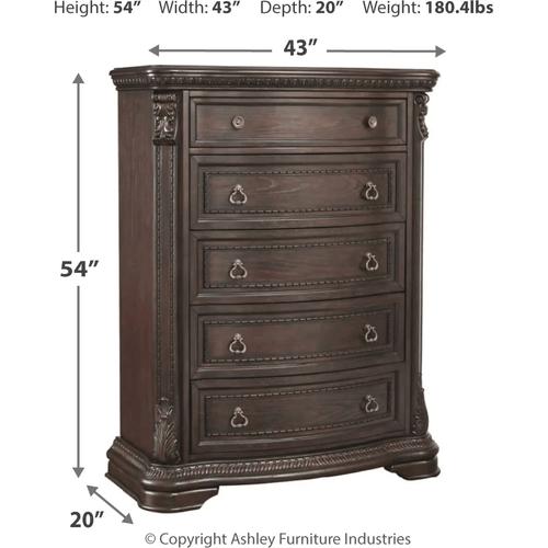 Wellsbrook - Dark Brown - 7 Pc. - Dresser, Mirror, Chest, Nightstand & KIng Poster Bed