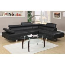 See Details - Sectional, Contemporary chrome legs with adjustable arm and headrests.  In bonded leather