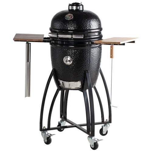"Saffire Grill & Smoker - Saffire Kamado - Bronze - Med 15"" - Black w/ Cart & Shelves"