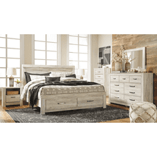 Bellaby- Whitewash- Dresser, Mirror, Chest, Nightstand & King Panel Bed 2 Storage Drawers