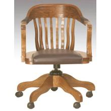 English Oak Office Arm Chair Leather Seat Trim