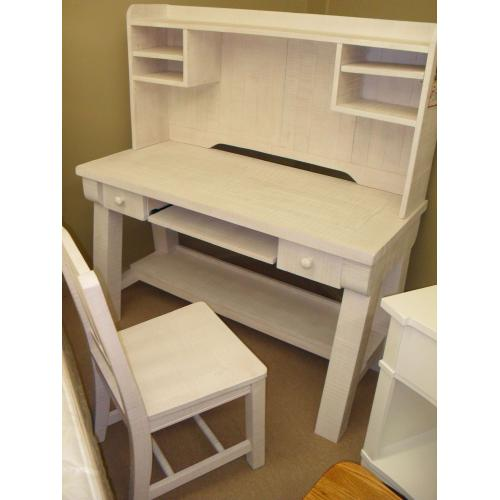 CLEARANCE!! Weathered White Finish Desk, Hutch, and Chair