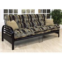 BLACK FUTON WITH OVAL LOUVERED ARMS