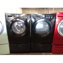 Refurbished (GAS) Black Frigidaire Affinity Front Load Washer Dryer Set On Pedestals. Please call store if you would like additional pictures. This set carries our 6 month warranty, MANUFACTURER WARRANTY AND REBATES ARE NOT VALID (Sold only as a set)