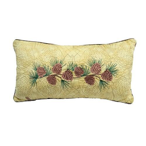 "Cabin Raising Pine Cone ""Rectangle"" Throw Pillow"