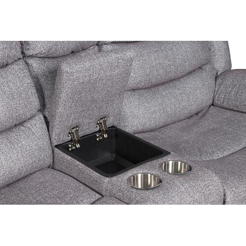 New Classic Furniture - Granada Reclining Loveseat with Console in Arcadia Beamer Gray Fabric