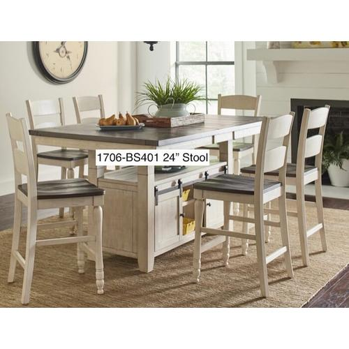 Jofran - Madison County Round Dining Tableand 6 Stools - Vintage White