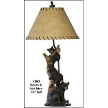 See Details - Bears and Beehive Table Lamp