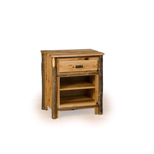Hickory 1 Drawer Nightstand with Shelf