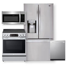See Details - 28 cu.ft. Smart wi-fi Enabled French Door Refrigerator & 6.3 Cu. Ft Smart Instaview Electric Slide-In Range with Air Fry- 4 Pc Package