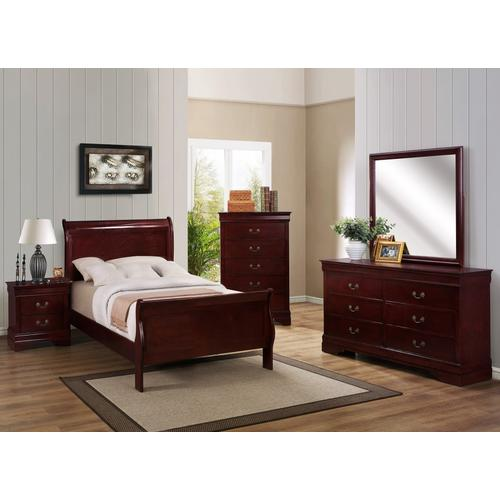 Crown Mark - 6 Piece Louis Philip Cherry Bedroom Group - Twin Size