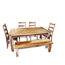 Sheesham Table, 4 Chairs & Bench