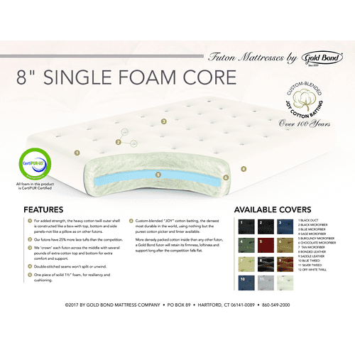 "Gallery - 8"" Single Foam Chair futon mattress"